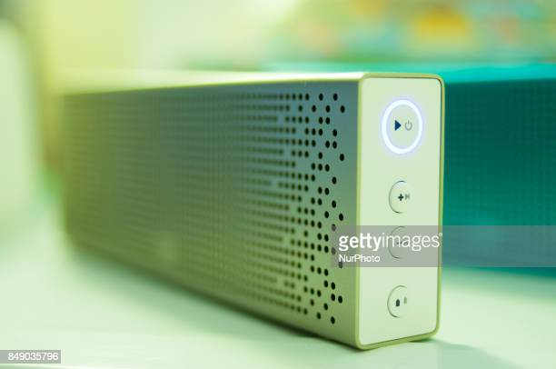 Wireless bluetooth speakers made by Chinese brand Xiaomi are seen on 17 September 2017