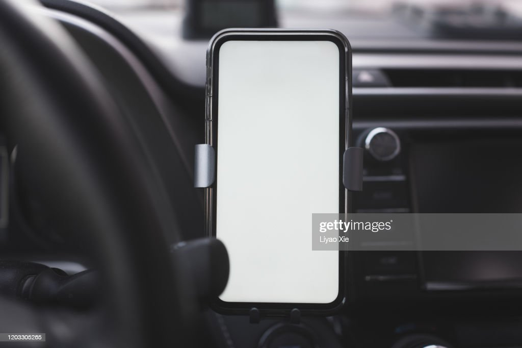 Wireless charging in car : Stock Photo