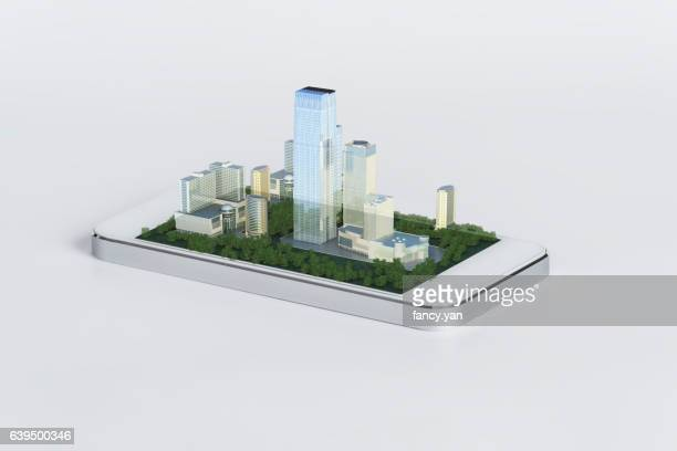 wireless devices and smart city - futurism stock photos and pictures