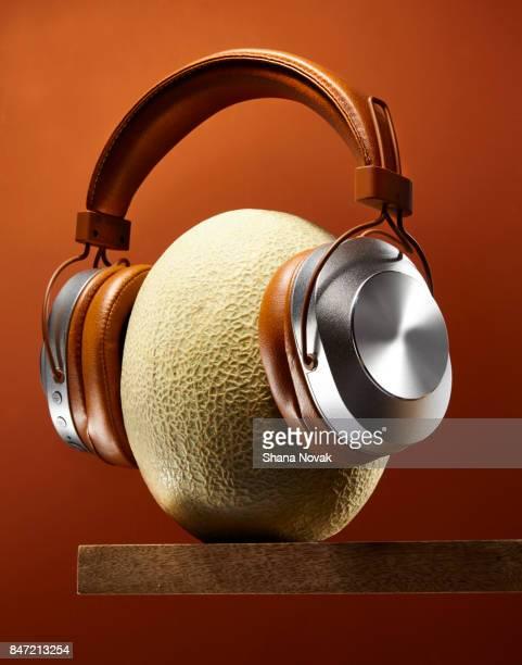 Wireless Headphones on a Melon