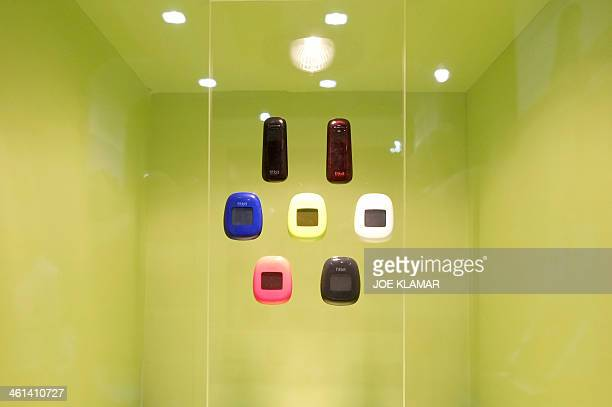 Wireless sensors by Fitbit shown during the 2014 International CES at the Las Vegas Convention Center on January 8 2014 in Las Vegas Nevada CES the...