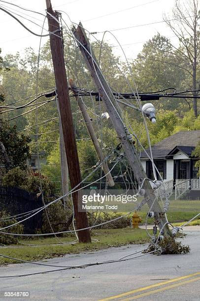 Wires and telephone poles litter the streets the day after Hurricane Katrina made her way inland August 30 2005 in Meridian Mississippi Gas supplies...
