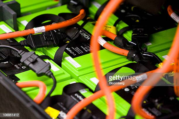 Wires connect components on lithiumion battery packs at the Smith Electric Vehicles production facility in Kansas City Missouri US on Wednesday Nov...