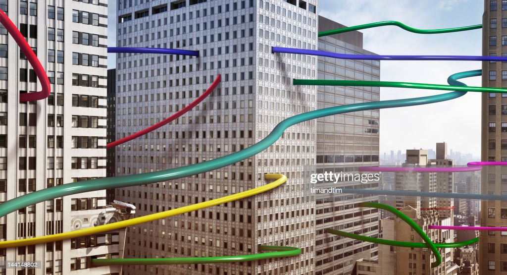 wires connecting buildings