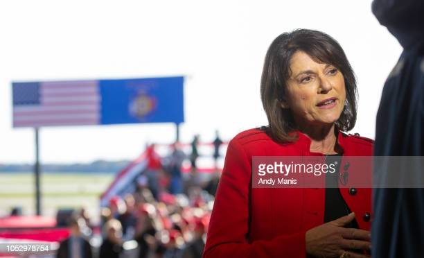 Wis Sen Leah Vukmir and US Senator candidate running against Sen Tammy Baldwin speaks to the media before a rally for US President Donald Trump on...