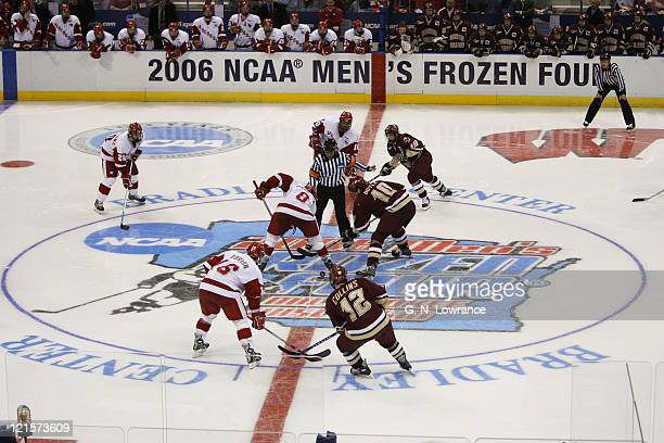 Wisconsin and Boston College face off in the NCAA Mens Hockey National Championship at the Bradley Center in Milwaukee, Wisconsin on April 8, 2006....