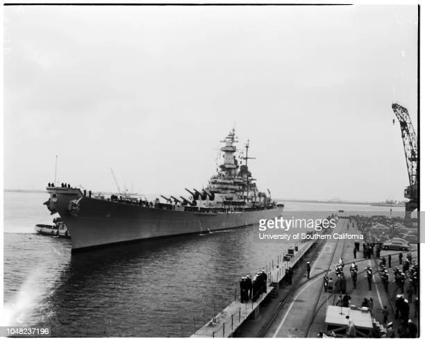 USS 'Wisconsin' arriving at Navy Shipyard Terminal Island 19 April 1952 Deborah Powell 4 years Machinist's Mate Second class James Desselle Stephen...