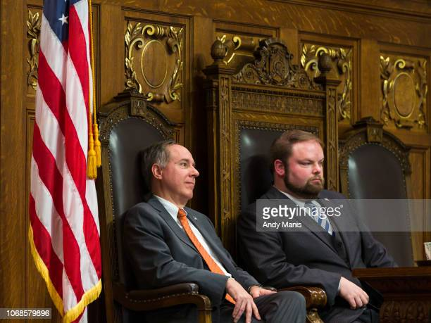 Wisconsin Assembly Speaker Robin Vos and Speaker Pro Tempore Tyler August listen as Democrats address the Assembly during a contentious legislative...