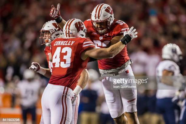 Wisconsin Badger inside linebacker Ryan Connelly and Wisconsin Badger inside linebacker TJ Edwards celebrated after an interception durning an...