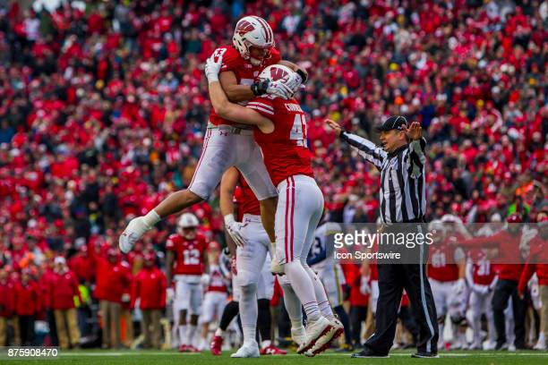 Wisconsin Badger inside linebacker Ryan Connelly celebrates with Wisconsin Badger inside linebacker TJ Edwards after getting the final stop to secure...