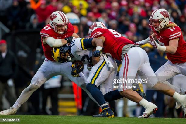 Wisconsin Badger inside linebacker Ryan Connelly Wisconsin Badger inside linebacker TJ Edwards and Wisconsin Badger outside linebacker Andrew Van...