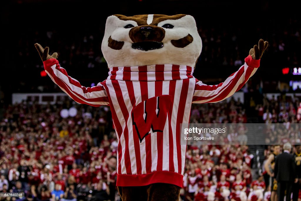 Wisconsin Badger mascot Bucky Badger cheers durning a time out during an college basketball game between the Iowa Hawkeyes and the Wisconsin Badgers at the Kohl Center in Madison, WI on March 02, 2017. The Iowa Hawkeyes defeat the Iowa Hawkeyes in a thriller 59-57.