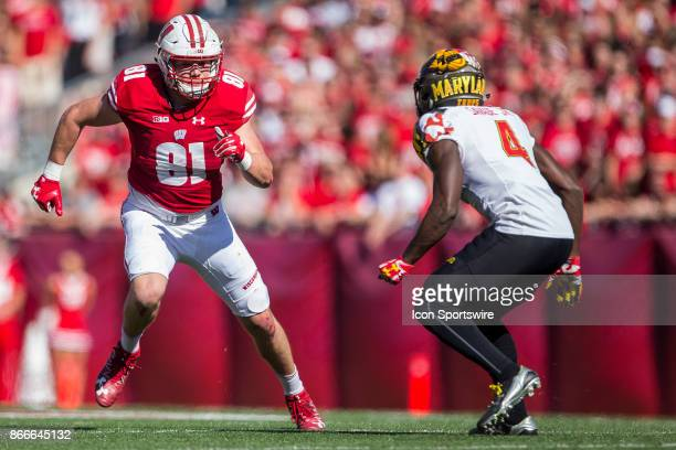 Wisconsin Badger tight end Troy Fumagalli runs a route on Maryland Terrapins defensive back Darnell Savage Jr durning an college football game...