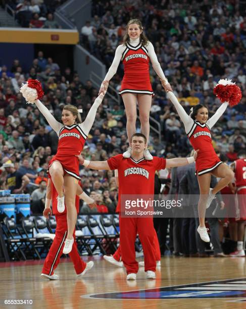 Wisconsin Badgers cheerleader cheers during the NCAA Division 1 Men's Basketball Championship game between Wisconsin Badgers and Villanova Wildcats...