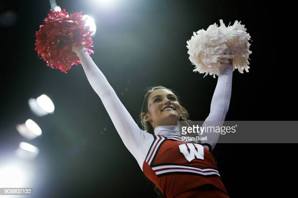 Wisconsin Badgers cheerleader performs during the game against the Illinois Fighting Illini at the Kohl Center on January 19 2018 in Madison Wisconsin