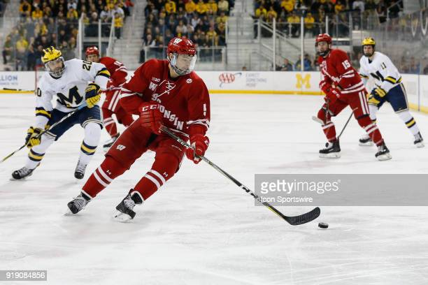 Wisconsin Badgers defenseman Tyler Inamoto skates with the puck during a regular season Big 10 Conference hockey game between the Wisconsin Badgers...