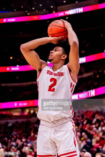 Wisconsin Badgers forward Aleem Ford goes up for a shot during a Big Ten Tournament quarterfinal game between the Nebraska Cornhuskers and the...