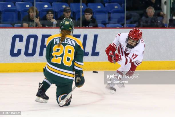 Wisconsin Badgers forward Britta Curl prepares to shoot as Clarkson Golden Knights defenseman Josiane Pozzebon defends during the NCAA women's hockey...