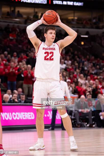 Wisconsin Badgers forward Ethan Happ controls the ball during a Big Ten Tournament quarterfinal game between the Nebraska Cornhuskers and the...