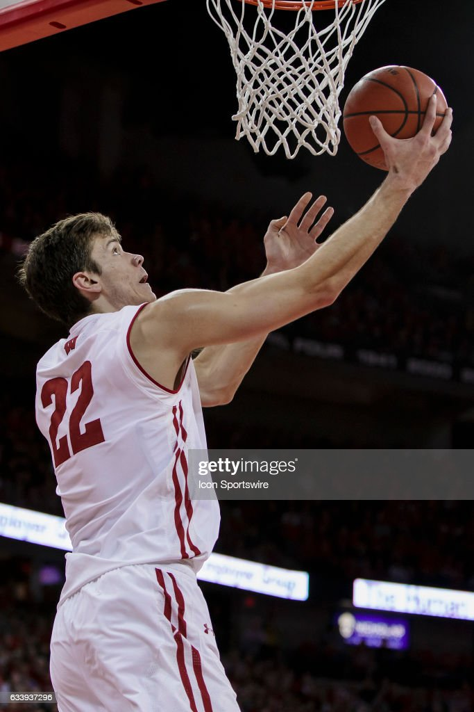 Wisconsin Badgers forward Ethan Happ (22) makes a reverse layup during an college basketball game between the Penn Indiana Hoosiers and the Wisconsin Badgers at the Kohl Center in Madison, WI on February 5th, 2017. Wisconsin defeats Indiana 65-60.