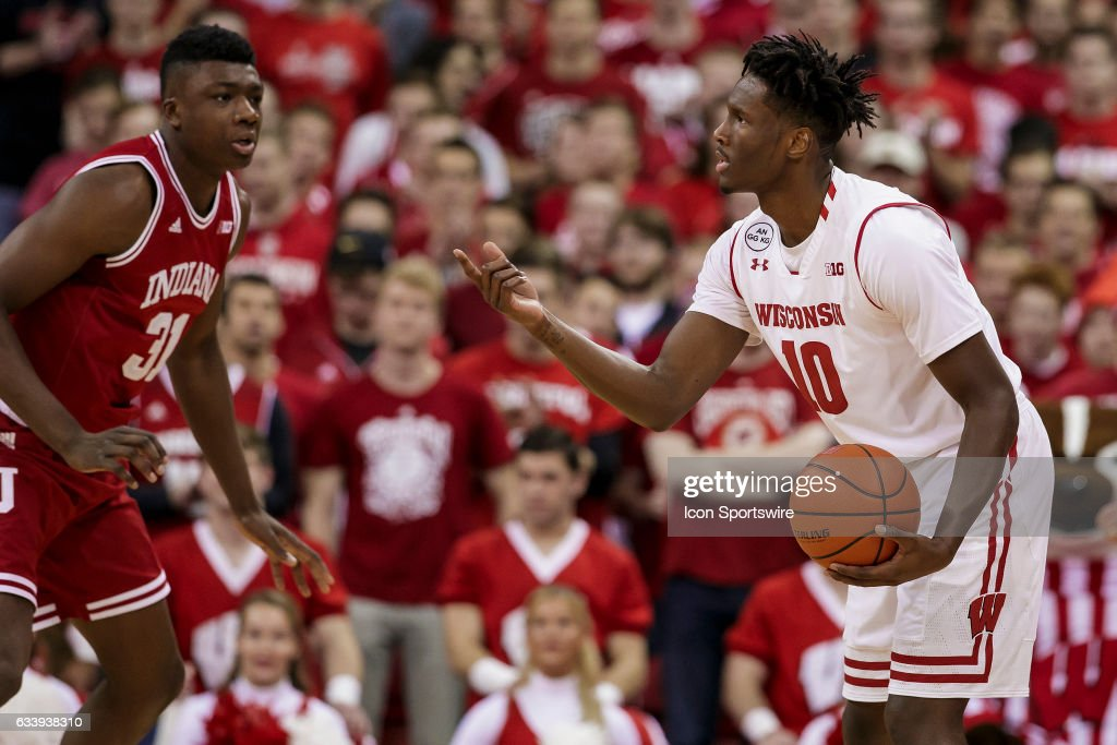 Wisconsin Badgers forward Nigel Hayes (10) tries to run the offense during an college basketball game between the Penn Indiana Hoosiers and the Wisconsin Badgers at the Kohl Center in Madison, WI on February 5th, 2017. Wisconsin defeats Indiana 65-60.