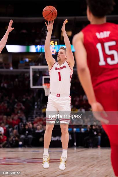Wisconsin Badgers guard Brevin Pritzl goes up for shot during a Big Ten Tournament quarterfinal game between the Nebraska Cornhuskers and the...