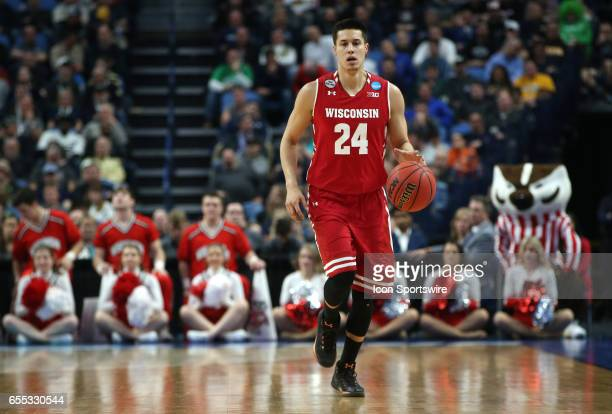 Wisconsin Badgers guard Bronson Koenig dribbles up the court during the NCAA Division 1 Men's Basketball Championship game between Wisconsin Badgers...