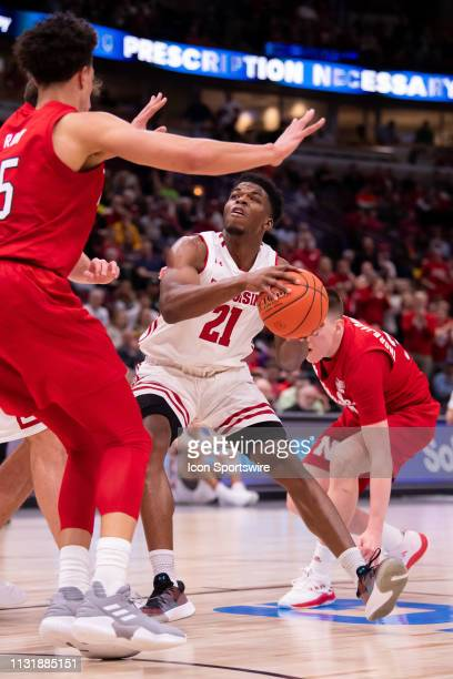 Wisconsin Badgers guard Khalil Iverson goes up for a shot during a Big Ten Tournament quarterfinal game between the Nebraska Cornhuskers and the...