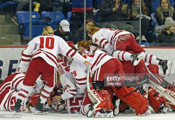 Wisconsin Badgers players dive onto the ice to celebrate their win over the Minnesota Golden Gophers in the Division I Women's Ice Hockey...