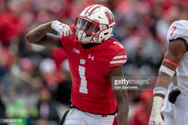 Wisconsin Badgers wide receiver Aron Cruickshank celebreeats after socrine g a touchdown during an college football game between the Illinois...