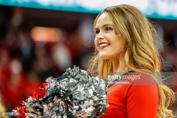 Wisconsin cheerleader during a college basketball game between the University of Wisconsin Badgers and the University of Nebraska Cornhuskers on...