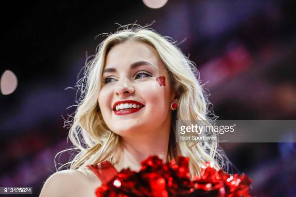 Wisconsin cheerleader during a college basketball game between the University of Wisconsin Badgers and the Northwestern University Wildcats on...