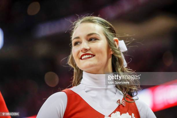 Wisconsin cheerleader during a college basketball game between the University of Wisconsin Badgers and the Purdue University Boilermakers on February...