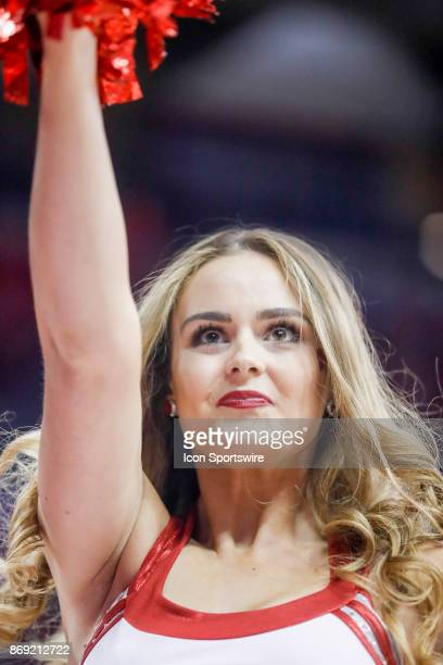 Wisconsin cheerleader during an NCAA basketball game between the University of Wisconsin Badgers and the University of Northern Iowa Panthers on...