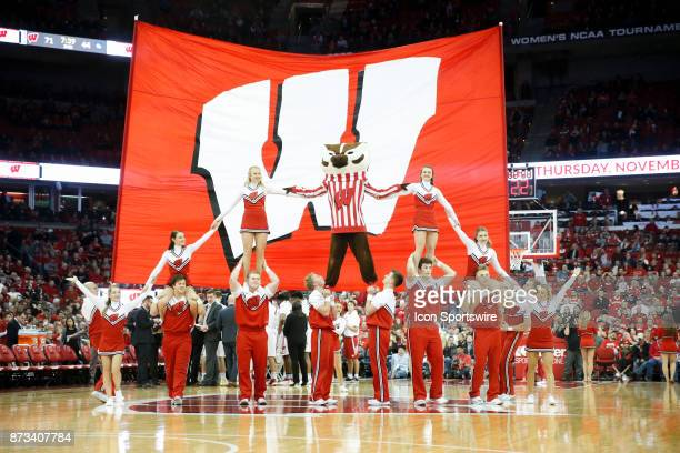 Wisconsin cheerleaders and mascot Bucky Badger during an NCAA basketball game between the University of Wisconsin Badgers and the Yale University...
