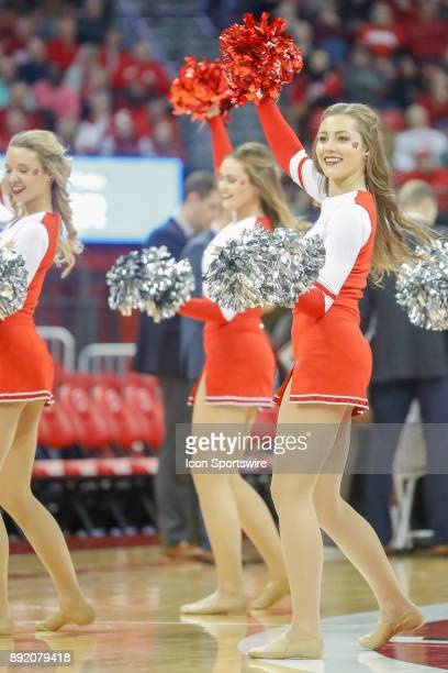 Wisconsin cheerleaders during a college basketball game between the University of Wisconsin Badgers and the Western Kentucky University Hilltoppers...