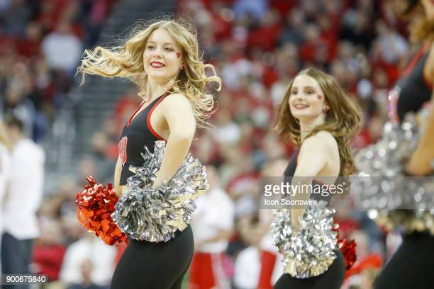 Wisconsin cheerleaders during a college basketball game between the University of Wisconsin Badgers and the Indiana University Hoosiers on January 2...