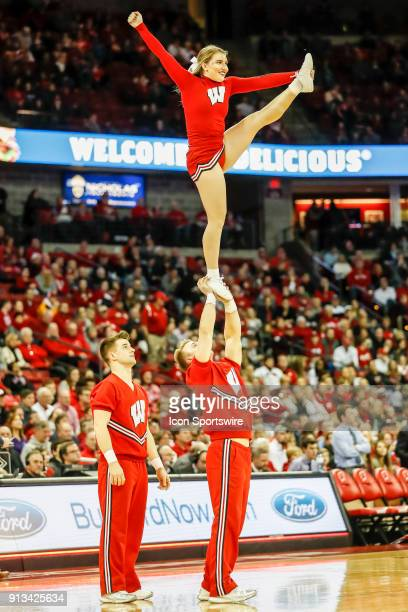 Wisconsin cheerleaders during a college basketball game between the University of Wisconsin Badgers and the Northwestern University Wildcats on...