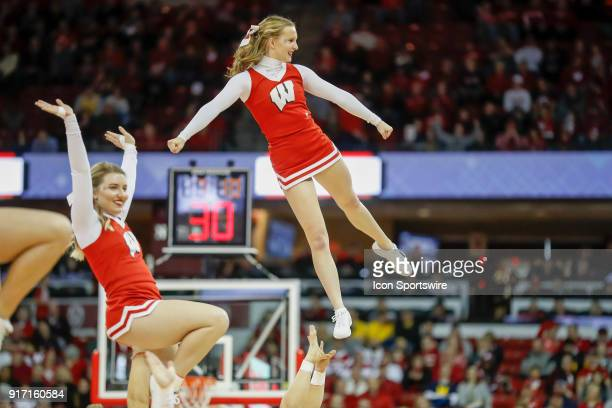Wisconsin cheerleaders during a college basketball game between the University of Wisconsin Badgers and the University Michigan Wolverines on...