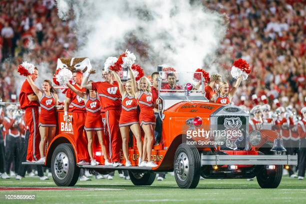 Wisconsin cheerleaders during a college football game between the University of Wisconsin Badgers and the Western Kentucky University Hilltoppers on...