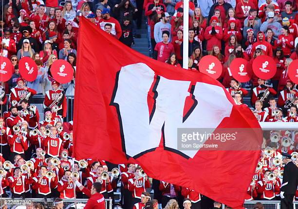 Wisconsin flag in the end zone after Wisconsin scores with the band in the background Wisconsin beat Illinois by a final score of 483 at Camp Randall...