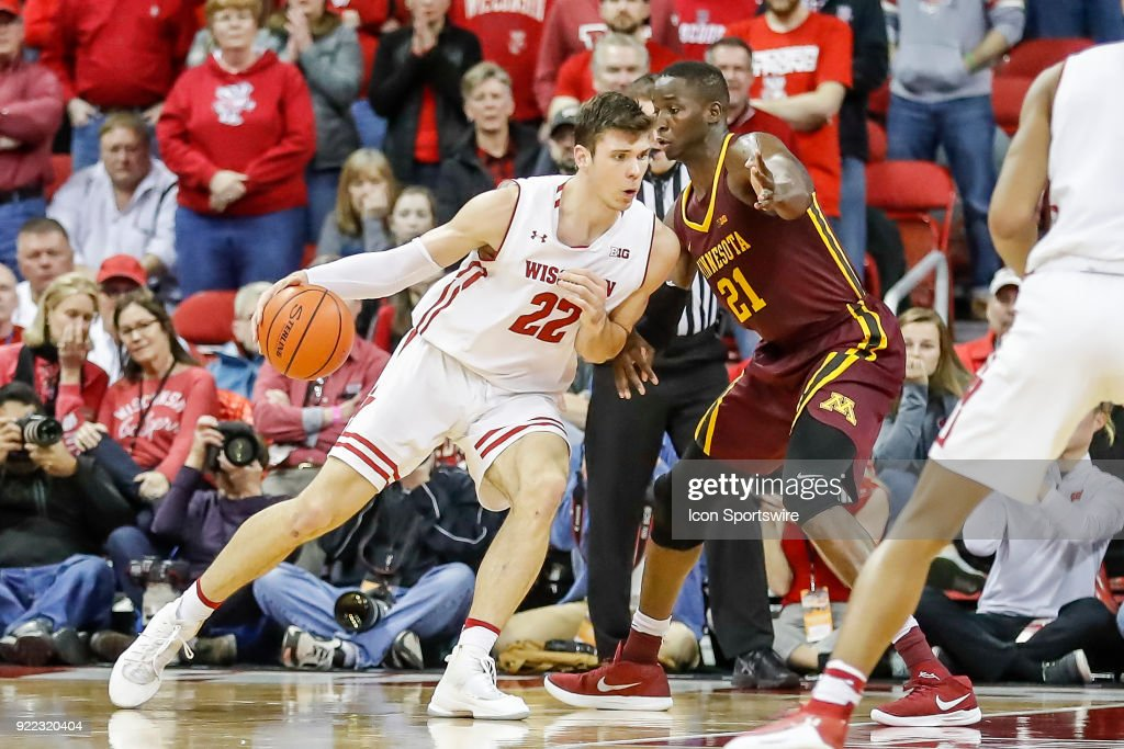 Wisconsin forward Ethan Happ (22) leans into Minnesota center Bakary Konate (21) during a college basketball game between the University of Wisconsin Badgers and the University of Minnesota Golden Gophers on February 19, 2018 at the Kohl Center in Madison, WI. Wisconsin defeated Minnesota by a score of 73 - 63.
