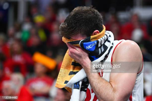 Wisconsin forward Ethan Happ looks on in the final seconds of the game between the Wisconsin Badgers and the Oregon Ducks in their NCAA Division I...