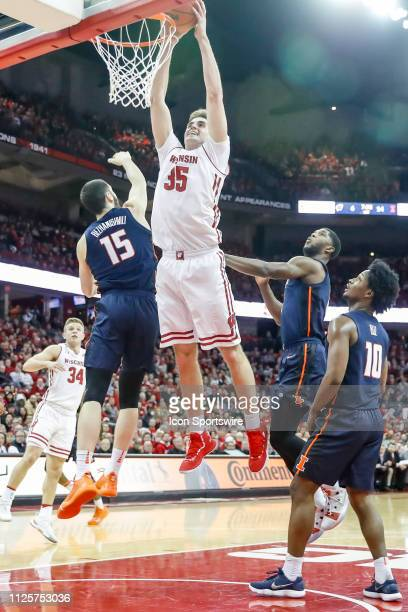 Wisconsin forward Nate Reuvers dunks the ball during a college basketball game between the University of Wisconsin Badgers and the University of...