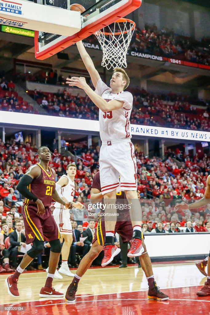 Wisconsin forward Nate Reuvers (35) makes a lay up during a college basketball game between the University of Wisconsin Badgers and the University of Minnesota Golden Gophers on February 19, 2018 at the Kohl Center in Madison, WI. Wisconsin defeated Minnesota by a score of 73 - 63.