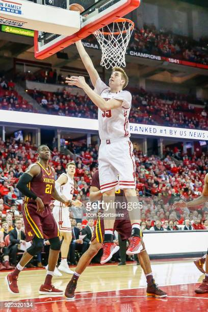 Wisconsin forward Nate Reuvers makes a lay up during a college basketball game between the University of Wisconsin Badgers and the University of...