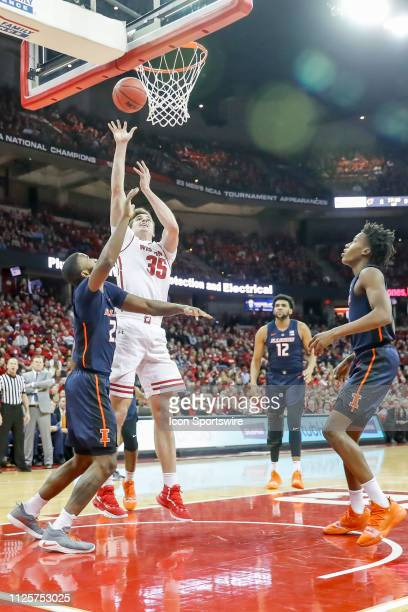 Wisconsin forward Nate Reuvers puts up a shot during a college basketball game between the University of Wisconsin Badgers and the University of...