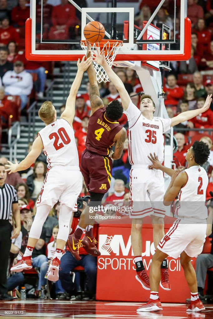 Wisconsin forward Nate Reuvers (35) tries to block the shot of Minnesota guard Jamir Harris (4) during a college basketball game between the University of Wisconsin Badgers and the University of Minnesota Golden Gophers on February 19, 2018 at the Kohl Center in Madison, WI. Wisconsin defeated Minnesota by a score of 73 - 63.