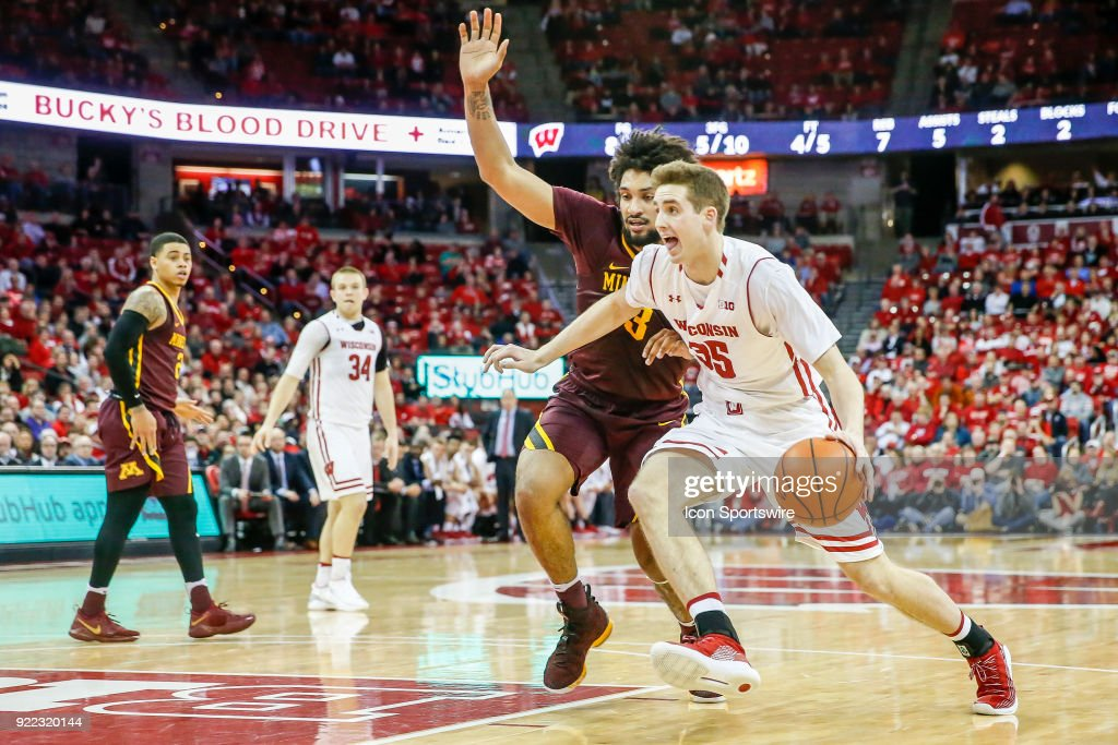 Wisconsin forward Nate Reuvers (35) tries to go around Minnesota forward Jordan Murphy (3) during a college basketball game between the University of Wisconsin Badgers and the University of Minnesota Golden Gophers on February 19, 2018 at the Kohl Center in Madison, WI. Wisconsin defeated Minnesota by a score of 73 - 63.