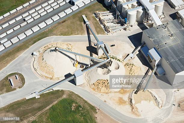 wisconsin frac sand processing facility aerial - fracking stock pictures, royalty-free photos & images